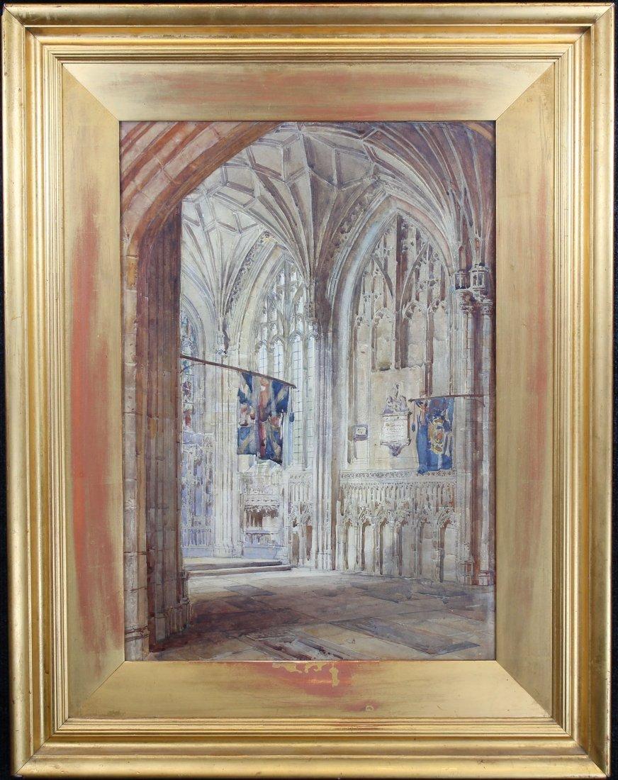 European School, Watercolor of Cathedral Interior