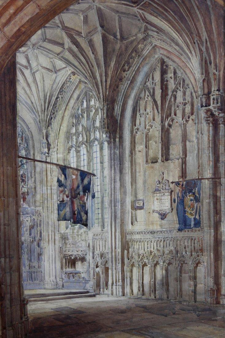 European School, Watercolor of Cathedral Interior - 2