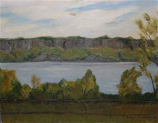20th C Painting of Palisades Park New York Signd