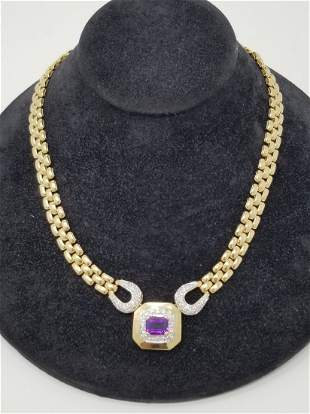 14K Gold Amethyst Diamond Necklace