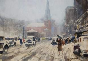 "John Whorf (1903 - 1959) ""Blizzard, Park Street"""