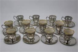 12 Tiffany & Co Sterling Demitasse Cups & Saucers