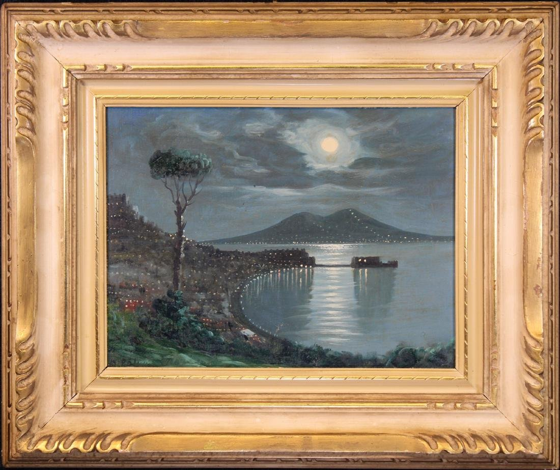 Signed, 20th C. Nocturne Painting of Vesuvius