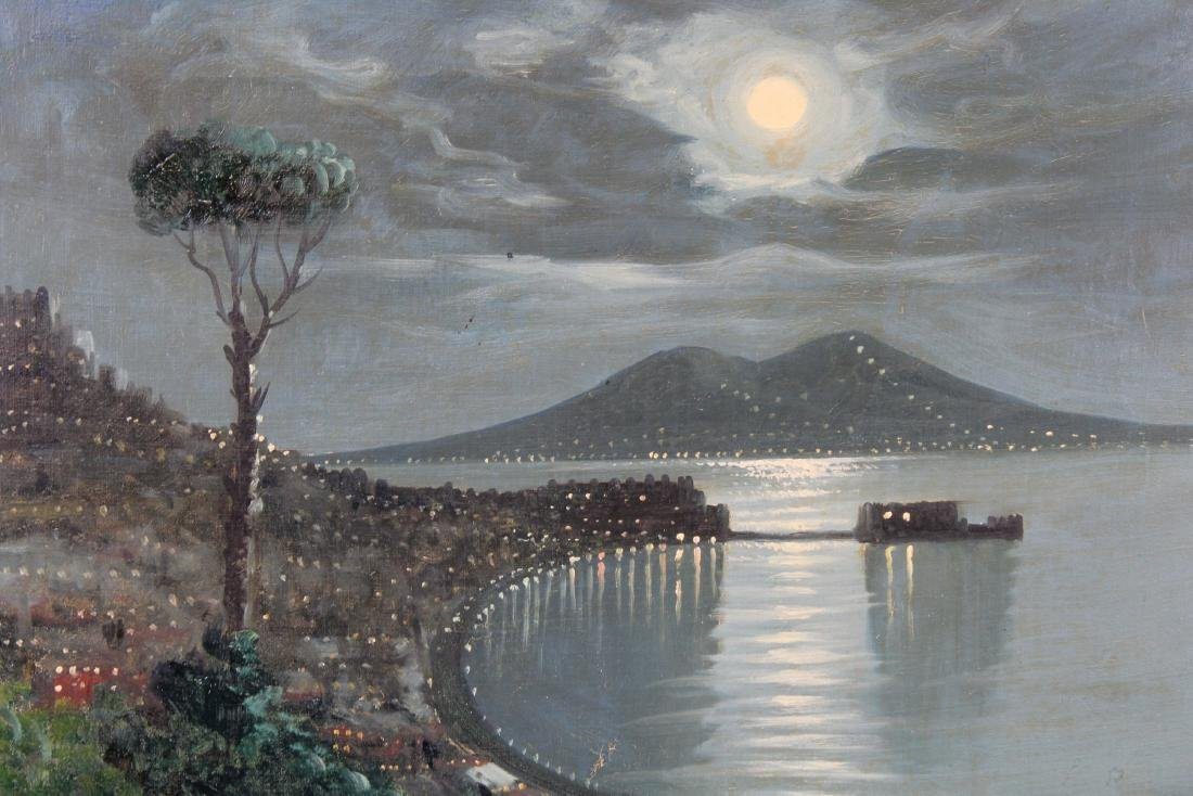 Signed, 20th C. Nocturne Painting of Vesuvius - 2