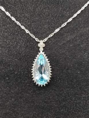 14K White Gold Blue Topaz Pendant Necklace
