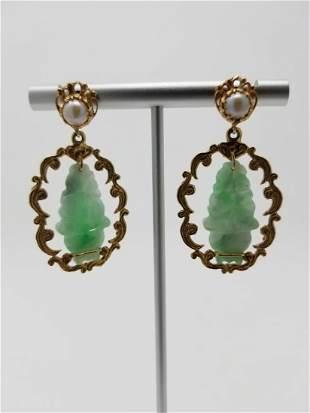 14K Gold Pearl Jade Earrings