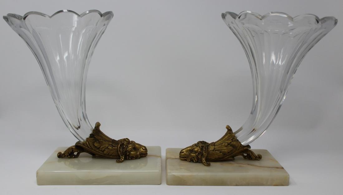 Pair French Gilt Bronze & Crystal Cornucopia Vases