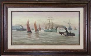 Signed Early 20th C Harbor Scene Painting