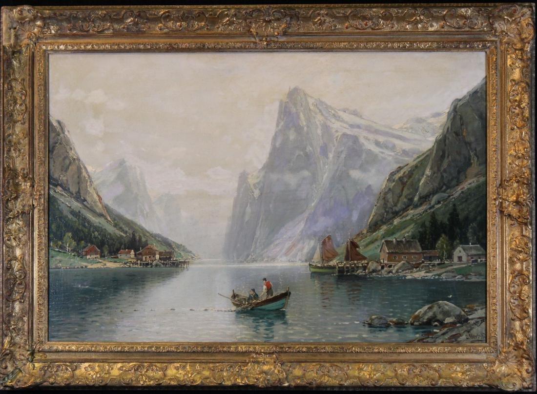 Signed, European School Mountain River Landscape