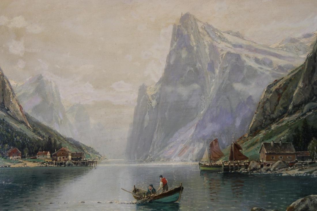 Signed, European School Mountain River Landscape - 2