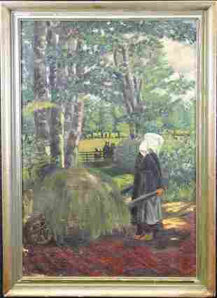 Signed 1940 Painting of Figures Hauling Hay