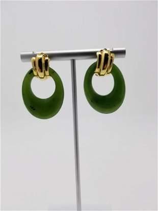 Pair of 14K Gold Jade Earrings