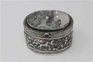 Silver Mother of Pearl Engraved Oval Box