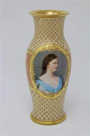 Antique Austrian Portrait Porcelain Vase