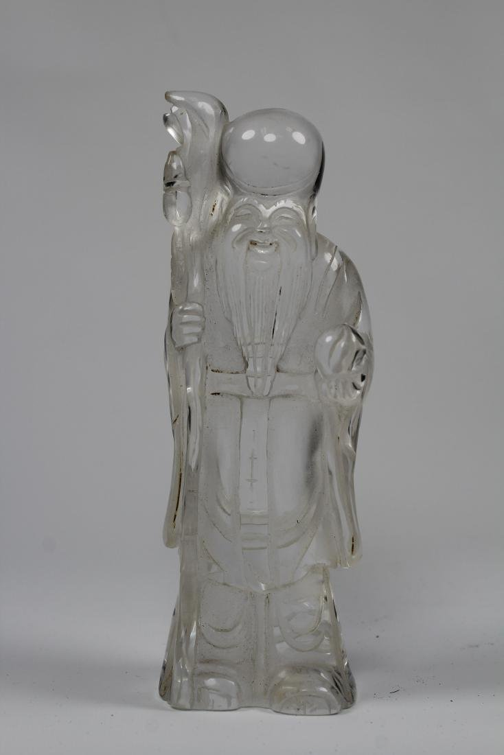 Finely Carved Chinese Rock Crystal Lohan Figure