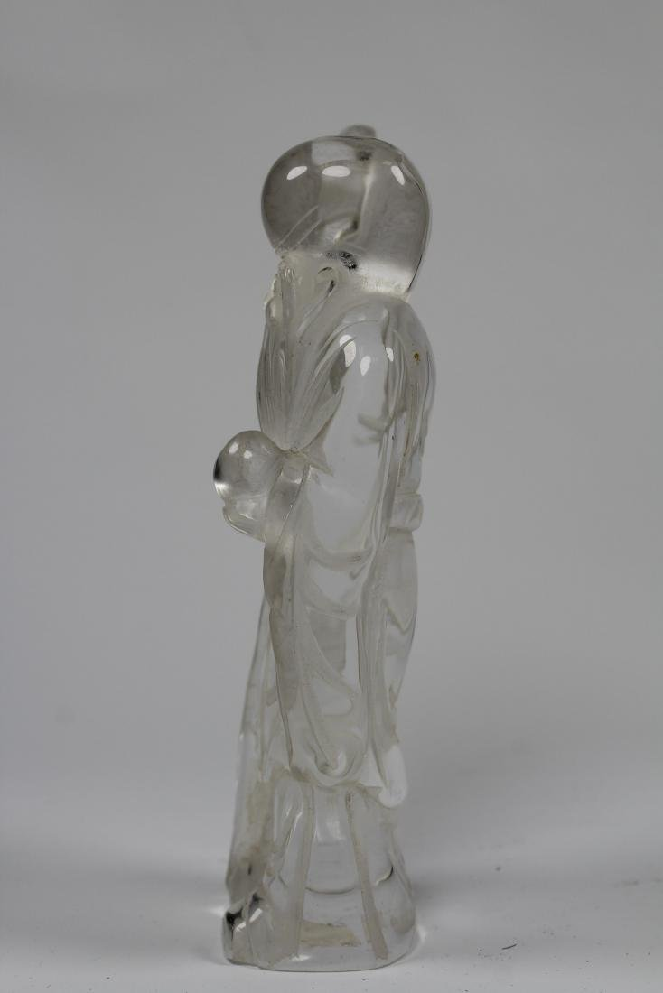 Finely Carved Chinese Rock Crystal Lohan Figure - 3