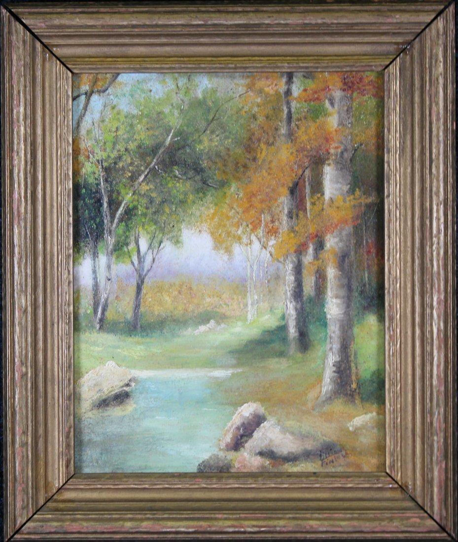 Signed, American School Autmnal River Landscape