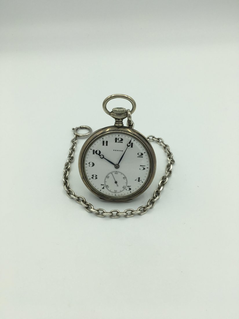 Antique Zenith 800 Silver 15 Rubies Pocket Watch