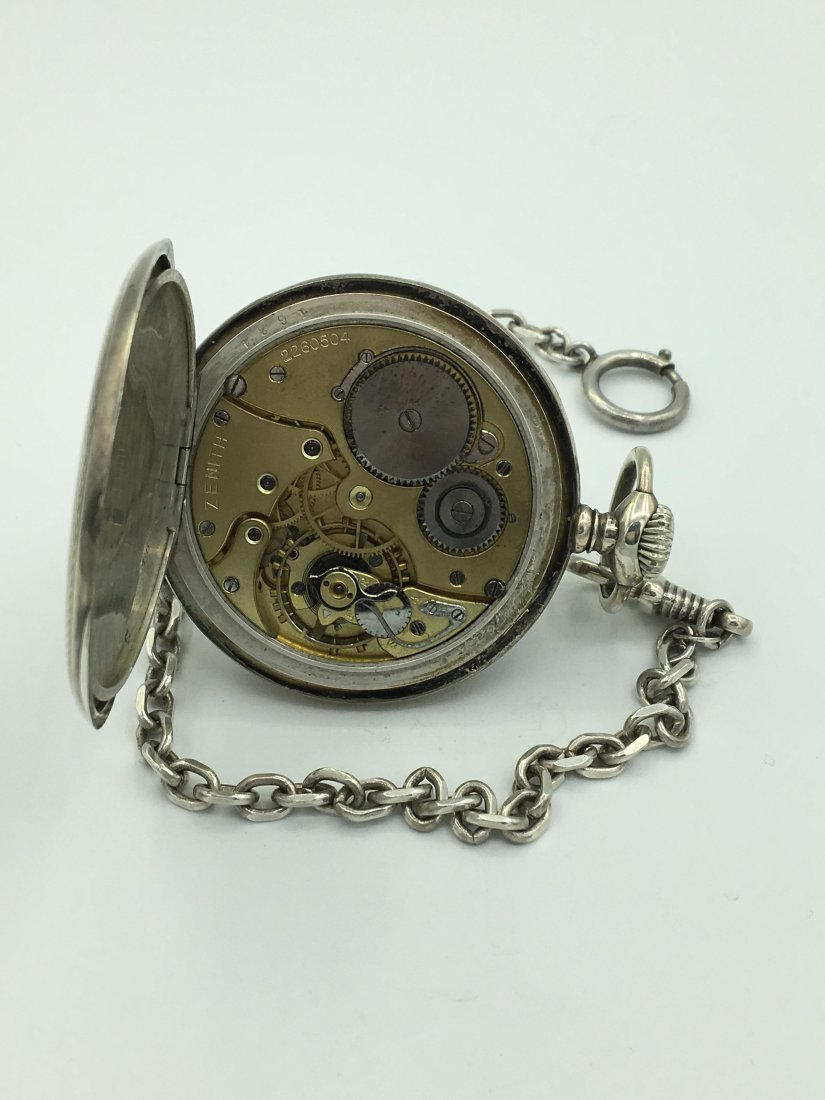 Antique Zenith 800 Silver 15 Rubies Pocket Watch - 3