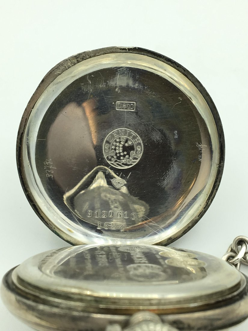 Antique Zenith 800 Silver 15 Rubies Pocket Watch - 6