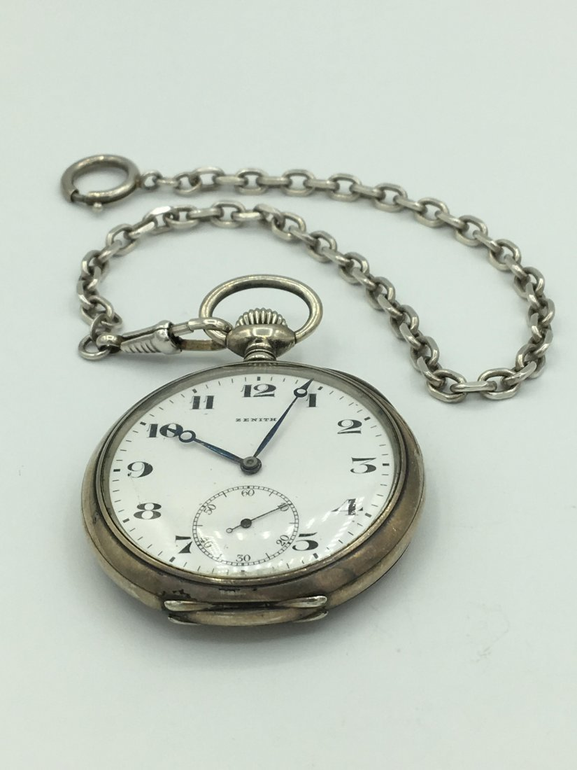 Antique Zenith 800 Silver 15 Rubies Pocket Watch - 7