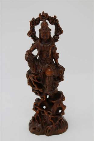 Carved Chinese Seated Guanyin Bodhisattva