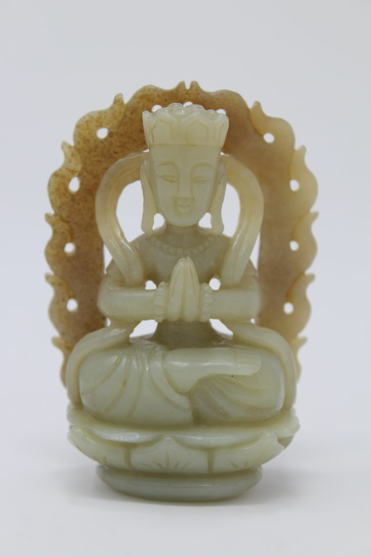 Carved Chinese Jade Guanyin Figure