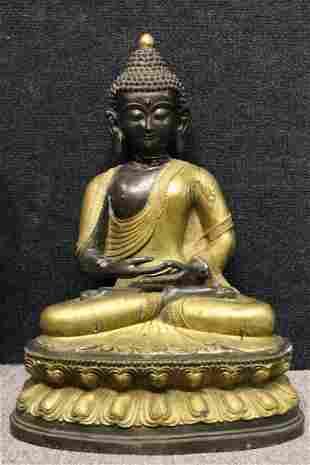 Large Antique Thai Gilt Bronze Seated Buddha