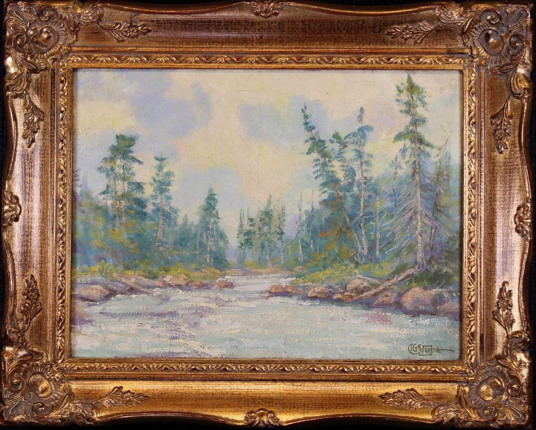 American School, 20th C. Western River Landscape