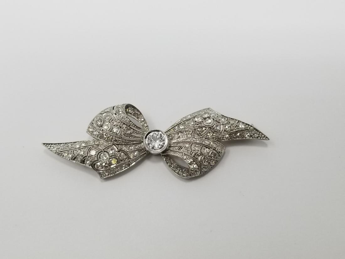 Art Deco Platinum & Diamond Bow Pin