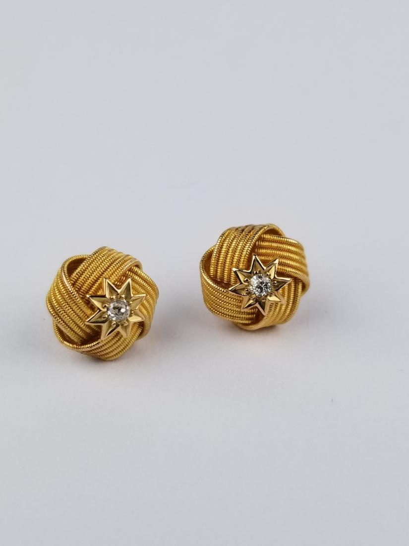 Pair of Vintage Gold Ribbon & Diamond Earrings