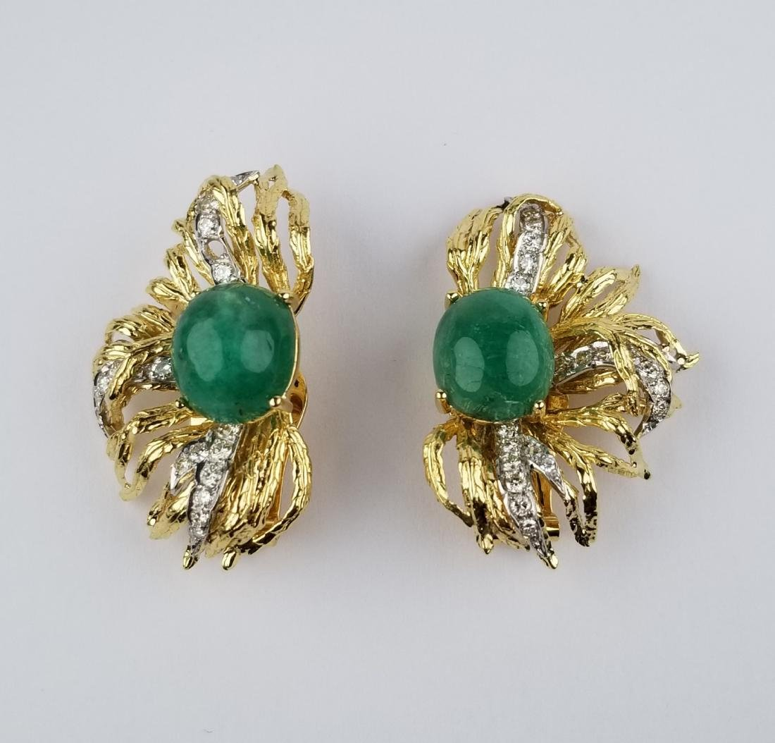 18K Gold Cabochon Emerald & Diamond Earrings