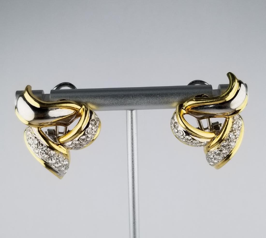 Pair of Diamond & Gold Ribbon Earrings