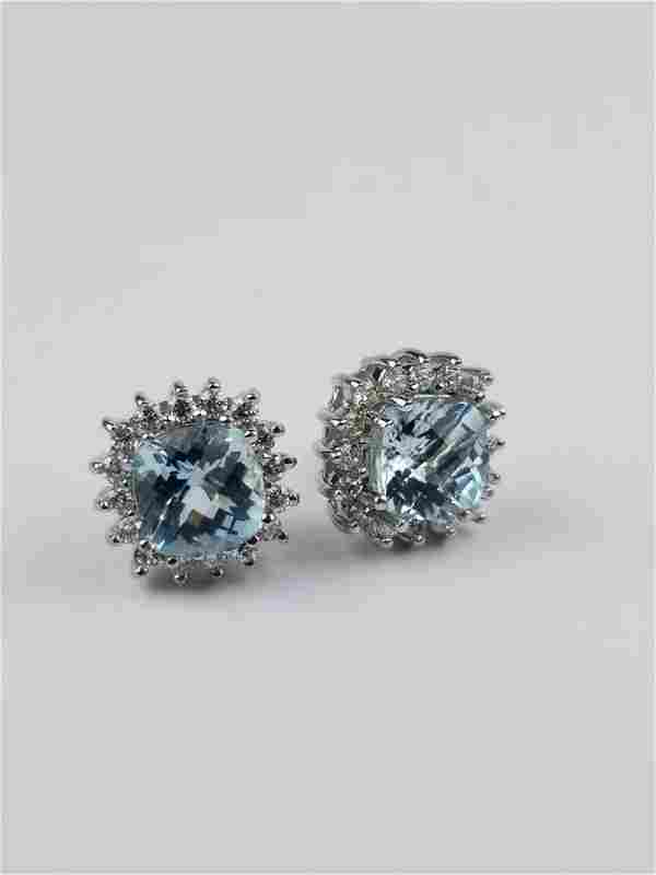 14K White Gold EMA Aquamarine & Diamond Earrings