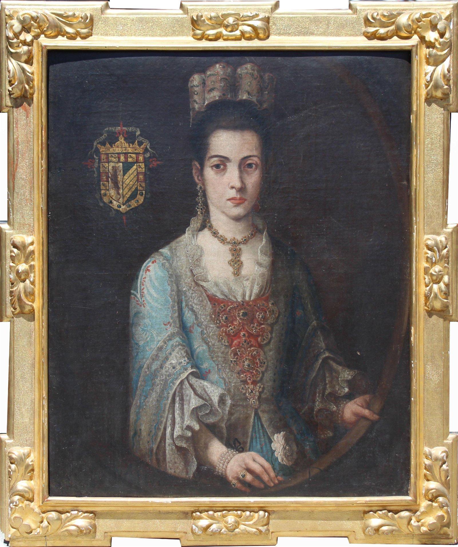 17th C Spanish School Portrait of an Elegant Woman