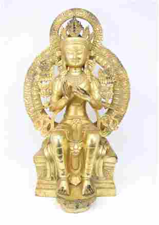 Antique Gilt Bronze Tibetan Seated Buddha Figure