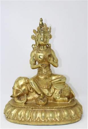 Signed Tibetan Gilt Bronze Buddha Figure on Eleph
