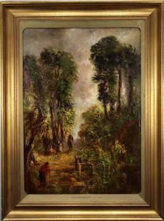 "Signed ""John Constable 1810"", Landscape w/ Figures"