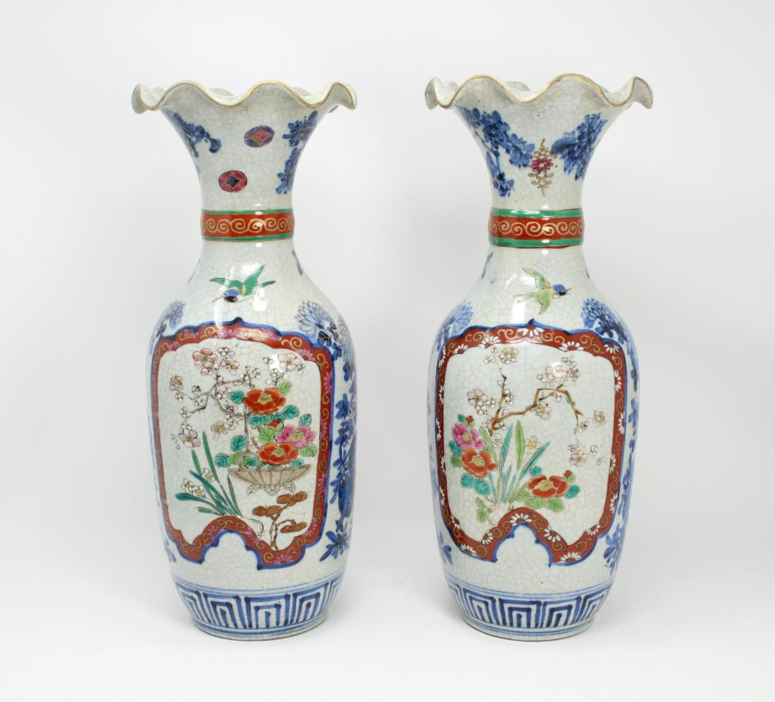 Pair, Antique Chinese Crackle Ware Vases. Signed