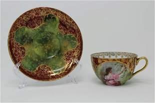 Antique Royal Vienna Porcelain Cup Saucer