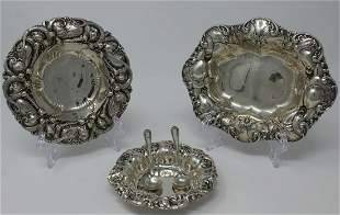 3 Whiting Sterling English Rococo Candy Dishes
