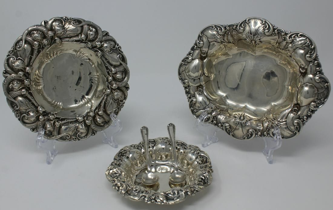 (3) Whiting Sterling English Rococo Candy Dishes