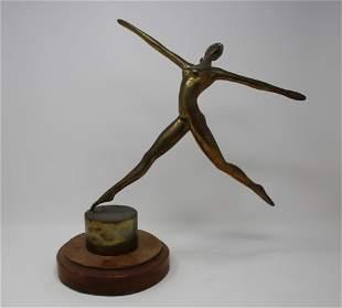 Mid Century Bronze Ballet Dancer on Wood Base