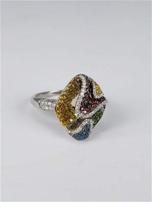 14K White Gold MultiColored Diamond Ring