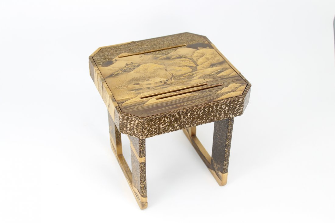 Antique Japanese Lacquer Sake Cup Tray Stand