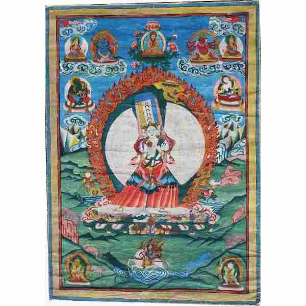 Antique Figural Nepalese Thangka
