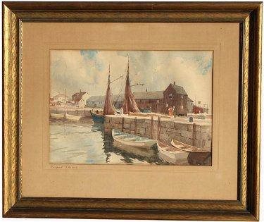 "Gordon H. Grant (1875-1962) ""Rockport Wharves"""
