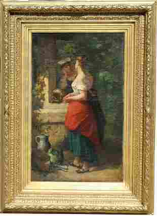 F Comtois 19th C Painting of Women at the Well