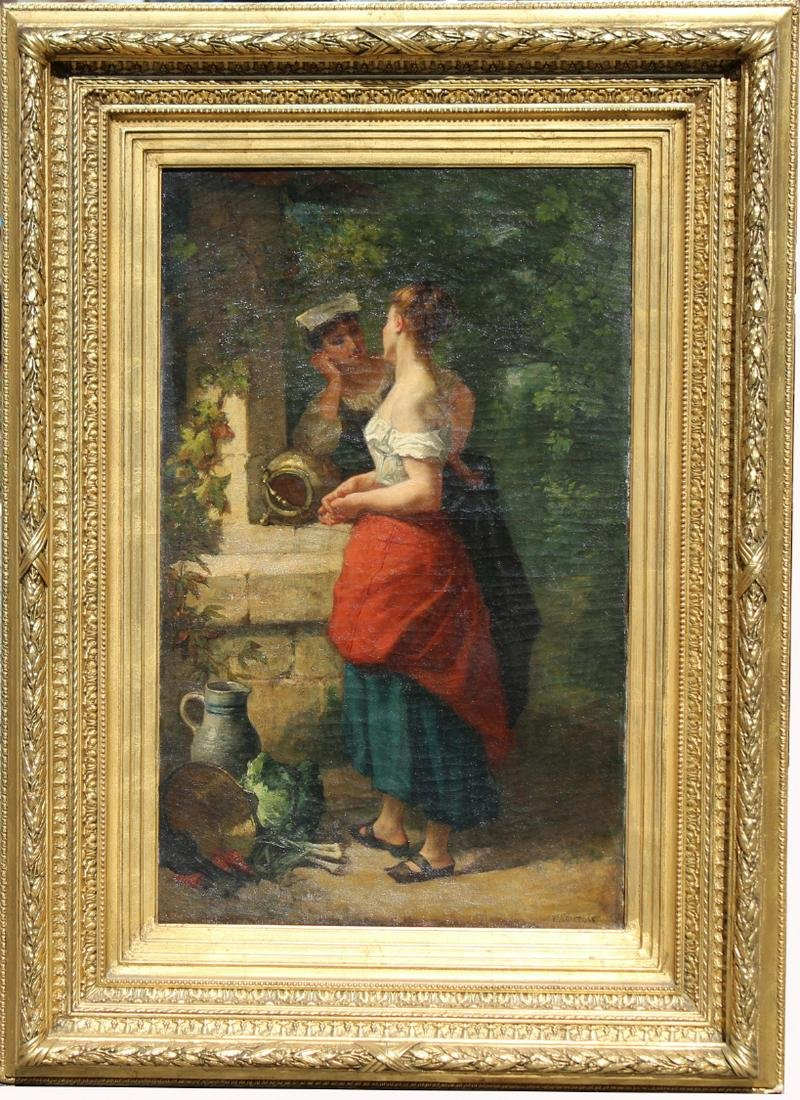 F. Comtois, 19th C. Painting of Women at the Well
