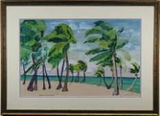 "Jane Peterson (1876 - 1965) ""Palms on the Beach"""